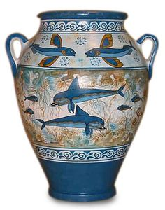 The Minoan dolphin crater depicts what the Minoans best loved to show in their art: scenes from nature like animals, flowers, and sea life. The Minoans were clearly overjoyed at the abundance of natural beauty which surrounded them on their island