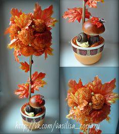 Топиарии   269 фотографий Fall Crafts, Diy Crafts, Fall Flower Arrangements, Christmas Decorations, Christmas Tree, Fall Flowers, Paper Mache, Paper Dolls, Fall Decor