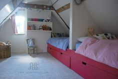 A charming attic bedroom. Attic Bedrooms, Kids Bedroom, Childrens Bedrooms Shared, Loft Conversion Bedroom, Amber Room, Attic Spaces, Kid Beds, Girl Room, Interior Design Living Room