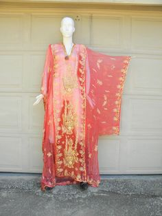 Vintage 70s Red SILK Beaded Indian Ceremonial Caftan OSFA