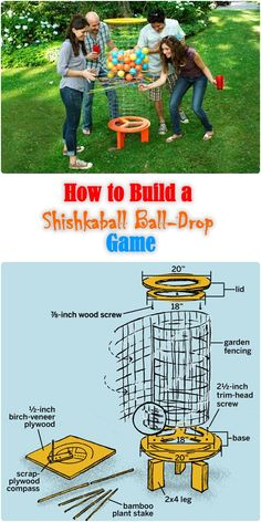 Shishkaball Ball-Drop Game The heyday of classic board games like Ker-Plunk and Jenga may be long gone, but you can re-create that heady feeling of pulling out a piece and waiting to see if everything comes crashing down. Diy Yard Games, Diy Games, Giant Yard Games, Giant Outdoor Games, Yard Games For Kids, Outdoor Yard Games, Outdoor Games For Kids, Indoor Games, Backyard For Kids