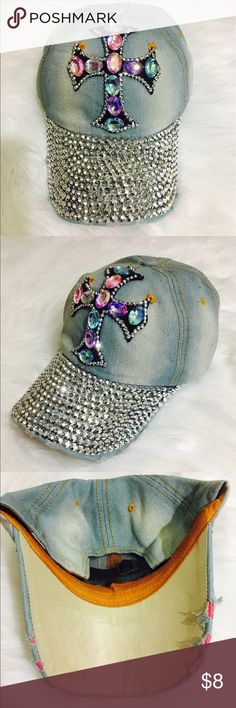 Bejeweled denim hat 100%Cotton imported Accessories Hats