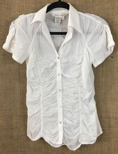 MAX STUDIO White 100% Cotton, Button-Down Short-Sleeve Gathered Blouse WM  S #BCBGMAXAZRIA #ButtonDownShirt #Several