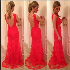 See Through Nude Back Red Lace Evening Dresses 2014 New Arrival vestido de festa long-in Evening Dresses from Apparel & Accesso...  Military Ball Option