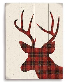 Look at this Red Deer Plaid Silhouette Wall Art on #zulily today!