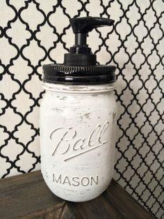 Bohemian Chic Mason Jar Soap Dispenser #DIY #MasonJar #BohoBungalow