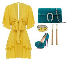 """Mustard & Teal"" by angelinakkhan ❤ liked on Polyvore featuring Gucci, Bulgari, Yves Saint Laurent, Christian Louboutin, YSL, christianlouboutin, gucci, bvlgari and louboutins"