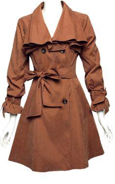 Khaki Lapel Long Sleeve Ruffles Trench Coat - Sheinside.com