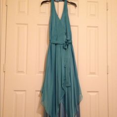 Kay Unger satin and chiffon layered halter gown Satin and chiffon layered halter gown by Kay Unger. Color: sky blue Kay Unger  Dresses