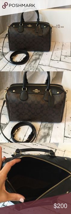 "COACH Sig Bennett Purse (large) Brand new with tags authentic Coach ""dig Bennett"" purse. This is the larger size. Beautiful ""c"" monogram print in black and dark brown finished with gold hardware. Very spacious! Shoulder strap is detachable so you can carry as a handbag or a crossbody. Coach Bags Satchels"
