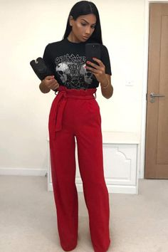Red Paper Bag Tie Waist Wide Leg Trousers #Fashion #Trends #Style #Beauty #Outfit #Ideas #Trends #Lifestyle