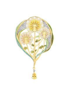 """Magic Paradise  PB-741. 18kt yellow gold pendant brooch with """"plique-à-jour"""" and """"basse taille"""" fired enamel, a yellow sapphire and diamonds. #jewelry #artnouveau #enamel #barcelona"""