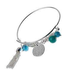 Fashion jewellery UK: Pretty Silver Charm Bangle With Aqua Blue Bead And Tassel Elements