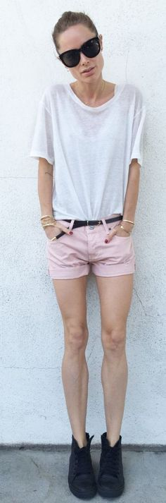 Pink Shorts Casual Style