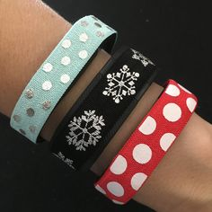 Christmas Fitbit Cover. Fitbit Alta, Flex, Flex 2, Charge & ChargeHR Elastic Bands,Set/3: Aqua/Silv Dots (PD09), Blk/Silv Snowflake (SN03), Red/Lg White Dots (D011) by BananaWindDesign on Etsy