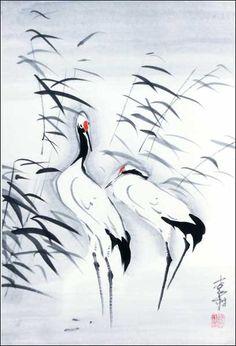 two-cranes.jpg (408×599) Featured artist: #JanZaremba #brushpainting#sumie http://www.asianbrushpainter.com/blog/gallery/jan-zaremba/