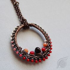 necklace Simple coral; copper, steel, coral; patinated, wire-wrapping; by Nady (http://www.nady.cz/nahrdelniky/nahrdelnik-simple-koralovy-172/)