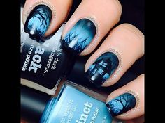 This Halloween nail art tutorial features a spooky haunted house scene that glows in the dark. Definitely perfect for Halloween! Crazy Nails, Love Nails, Fun Nails, Pretty Nails, Halloween Nail Designs, Halloween Nail Art, Cute Nail Designs, Halloween House, Halloween Halloween
