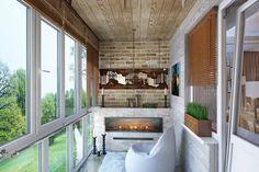 Дизайн балкона с камином 4 кв. м. с видом на лес-1