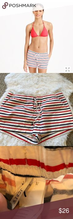 J. Crew M board short in stripe red white blue J. Crew size Medium board short in multi stripe. Faint spot in an area please refer to close up pic.  Wear these striped board shorts to surf or just as a cover-up. Your call.  Cotton/nylon. Hand wash. Import. Online only. Item E8715. J. Crew Shorts