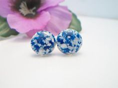 vintage blue and white speckled earrings, blue and white button earrings, confetti earrings by ALEXLITTLETHINGS