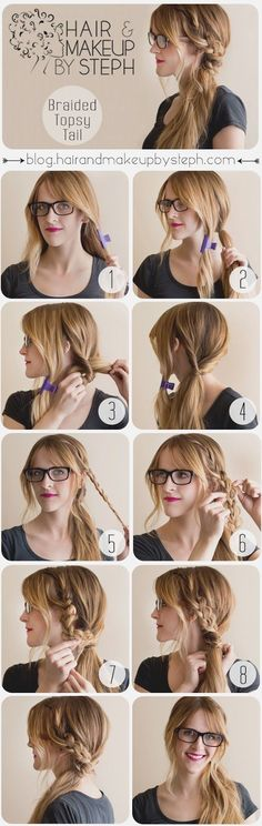 So Simple and cute! Braided Topsy Tail. Grown-up version of what I used to do when I was a kid!