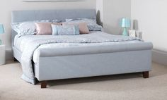 The Hazel bed frame upholstered in an ice coloured fabric. The classically designed frame offers a stylish look for a bedroom and would compliment many interiors. Sleigh Bed Frame, Sleigh Beds, Upholstered Bed Frame, Stylish Beds, Traditional Interior, Scroll Design, Decoration, Linen Fabric, Andover Mills