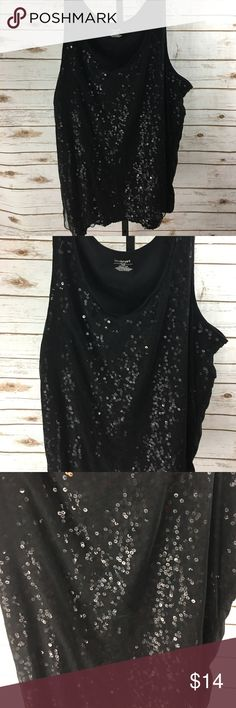 Lane Bryant Sequin Tank Black sequin tank. Only sequins on front.  Size 26/28 Lane Bryant Tops Tank Tops