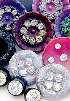 Vintage brights, paste rhinestone buttons.