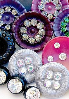 Vintage brights, paste rhinestone buttons.