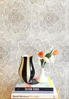 Pinstripe Floral Black and White Wallpaper — KATE ZAREMBA COMPANY