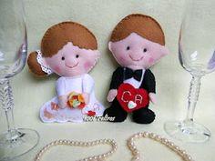 felt doll wedding couple