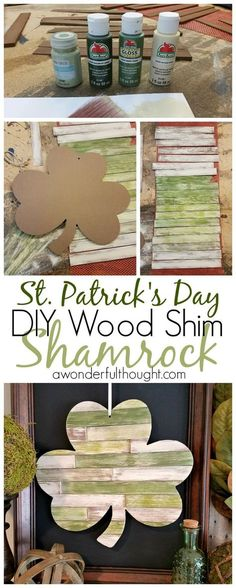 DIY Wood Shim Shamrock - A Wonderful Thought - Love St. Patrick's Day as much as we do? Decorate with this DIY wood shims shamrock! Spring Crafts, Holiday Crafts, Holiday Fun, O Leprechaun, Saint Patrick's Day, Wood Projects, Projects To Try, Crafty Projects, St. Patricks Day