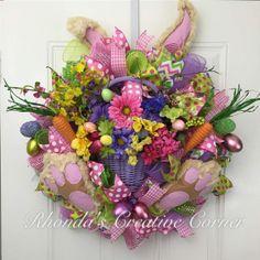 Beautiful Deco Mesh Bunny Wreath