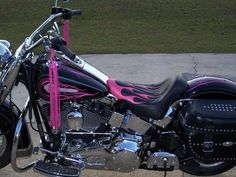 Pink Harley Davidson Motorcycle | Motorcycle Seat with Standard Flames with Insert - Harley Davidson