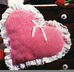 Decorate your home with this antique looking #Crocheted Heart Pillow.