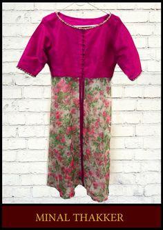Minal Thakker's pink raw silk and organza floral tunic.