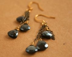 Pyrite Earrings Wire Wrapped Briolette Chain Dangle Earrings Gold Pyrite