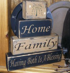 HOME  FAMILY  HAVING BOTH IS A BLESSING PRIMITIVE BLOCK SIGN SIGNS
