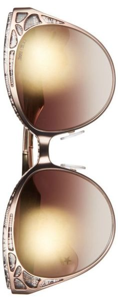 Jimmy Choo Estelle Metal Cat Eye Crystal Lace 55mm Sunglasses