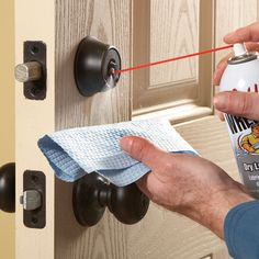 If your deadbolt sticks or is difficult to turn, give it a shot of Teflon lube spray to get it operating smoothly again. It only takes five minutes.