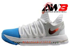 the best attitude d086e 477e8 Chaussure de BasketBall Pas Cher Pour Homme Nike Zoom KD 10 EP Bleu Blanc Or