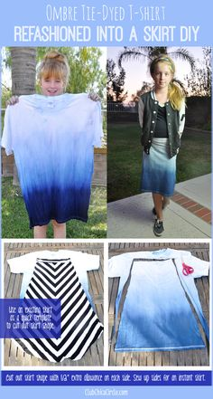 Ombre tie dye shirt refashioned into a skirt
