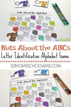 FREE Nuts About the Alphabet Game - this is a fun, free printable letter game for kids working on letter recognition. Autumn Activities For Kids, Fall Preschool, Preschool Letters, Alphabet Activities, Kids Alphabet, Alphabet Games For Preschoolers, Spanish Alphabet, Writing Activities, Kindergarten Games