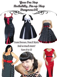 Plus Size Rockabilly Clothing and Fashion Gothic, pin-up... I love the top middle dress and the one to the right of it!!!