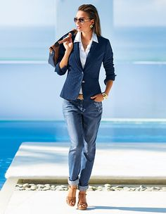 Blazer, pure cotton in the color navy - blue - in the MADELEINE online collection Blazer Outfits, Preppy Outfits, Casual Fall Outfits, Mode Outfits, Classy Outfits, Chic Outfits, Fashion Outfits, Blazer Fashion, Style Désinvolte Chic