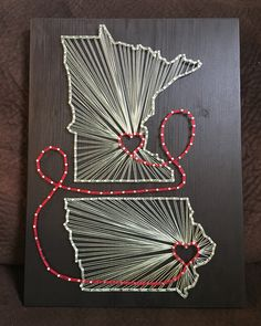 Double State/Country string art, Minnesota/Iowa - order from KiwiStrings on Etsy! www.KiwiStrings.etsy.com
