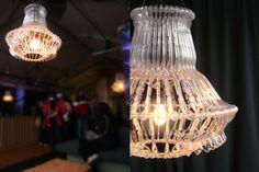 The Hangelier Series - Organelle Design Repurposed plastic hangers make new chandeliers.