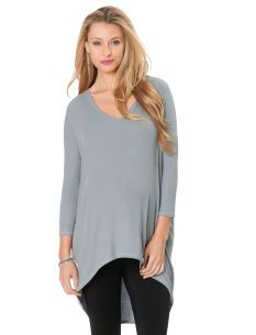UNEVEN HEMLINES: A Pea in the Pod Isabella Oliver Long Sleeve V-neck High-low Hem Maternity T Shirt