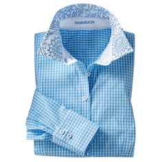 lila check shirt - collared & button downs - tops - women - Gorsuch (2,965 EGP) ❤ liked on Polyvore featuring tops, blue top, cashmere tops, button up tops and button down top